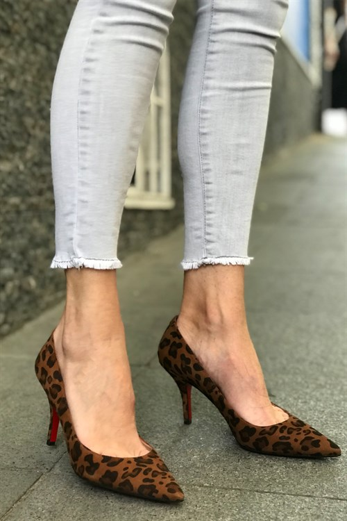 Leopar Süet Stiletto - EVELYN